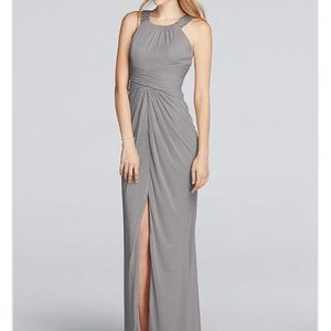 David's Bridal Mercury beaded bridesmaids dress